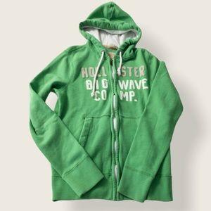 Hollister Men's Green Zip Front Hoodie - Sz Small